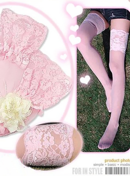 Sheer Thigh High with Wide Lace Top 핑크 하이 레이스 스타킹