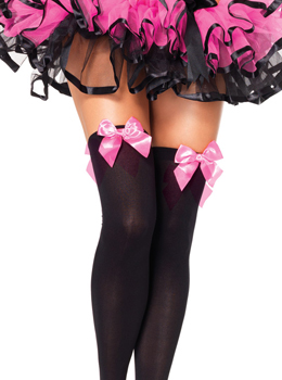 Opaque Thigh Highs with Satin Bow 새틴리본포인트 스타킹