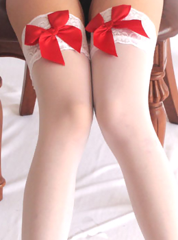 ☆ Red Satin Bow Lace Top Thigh Highs 레드새틴레이스스타킹