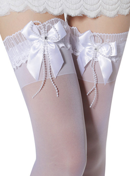 ★ 2color ★ SHEER THIGH HIGH WITH SATIN BOW 러블리브리드스타킹