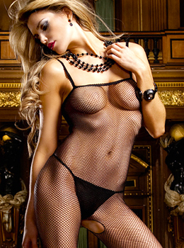 Black Fishnet Open Crotch Bodystocking 블랙밑트임바디스타킹