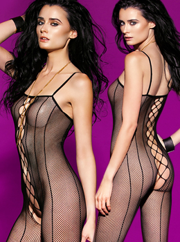 Pinstripe Fishnet Open Crotch Bodysuit 밑트임바디스타킹