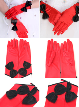 Satin Cut Out Cropped Gloves With Velvet Bow 리본포인트 레드벨벳장갑