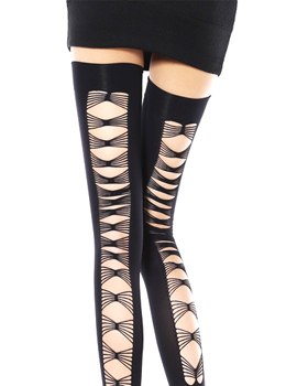OPAQUE THIGH HIGH WITH CRISS CROSS BACK 백 크로스 하이스타킹