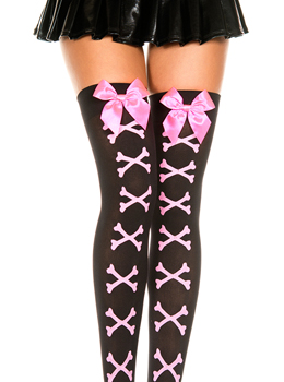 Opaque Crossbones Thigh Highs with Bow 러블리 리본포인트 패션스타킹